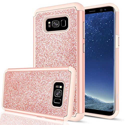 Galaxy S8 Plus Glitter Case for Girls Women Bling Cute (Not Fit S8), LeYi Design [PC Silicone Leather] Dual Layer Hybrid Heavy Duty Protective Phone Cover Case for Samsung Galaxy S8 Plus TP Rose Gold