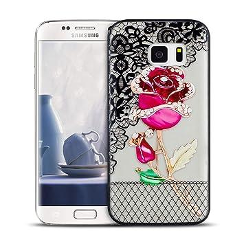 MOEVN Funda para Samsung S7 Transparente, Flor Silicone ...