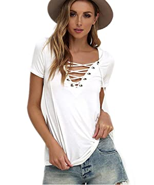 Akery Women's Summer Bandage Cross Tops Deep V Neck Casual Blouse T Shirt Tops
