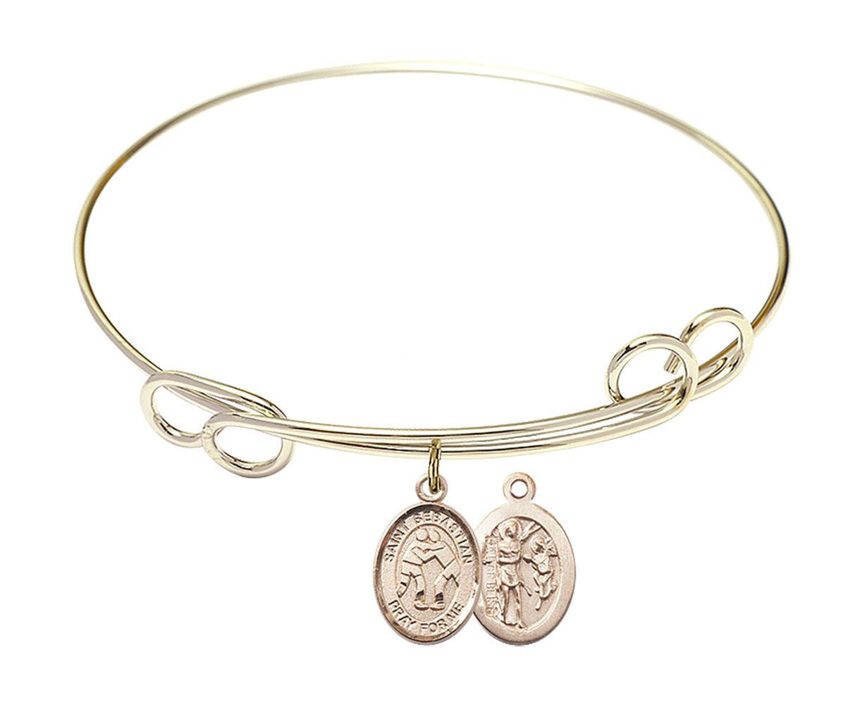 7 1/2 inch Round Double Loop Bangle Bracelet w/ St. Sebastian/Wrestling in Gold-Filled