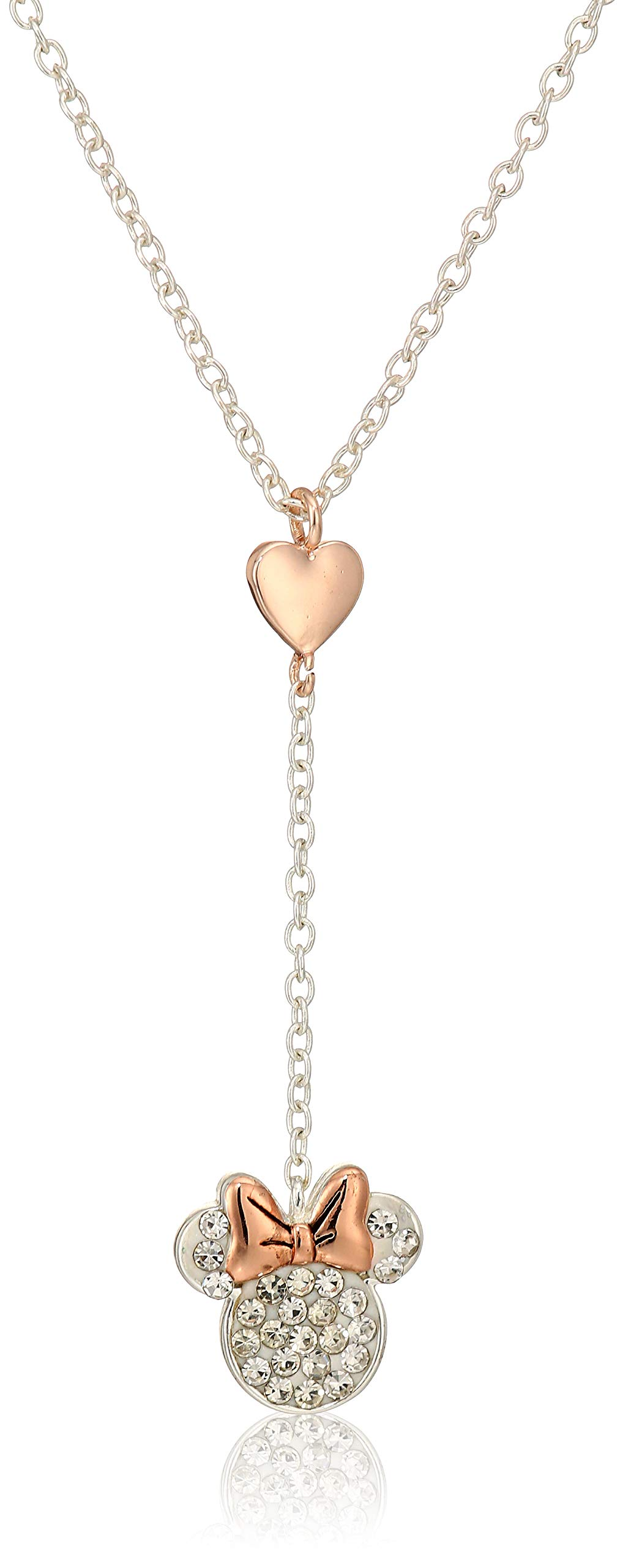Disney Women's Two-Tone Silver Plated Crystal Minnie Mouse Y Shaped Necklace, 22-Inch by Disney