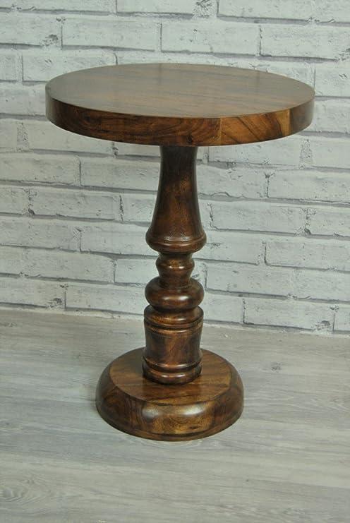 Mesa redonda de madera indio rústico de velador: Amazon.es: Hogar