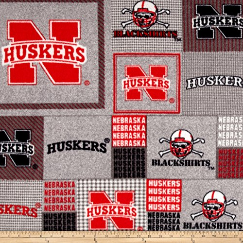Sykel Enterprises Collegiate Fleece University of Nebraska Plaid Blocks Red/Gray Fabric By The (University Fleece Fabric)