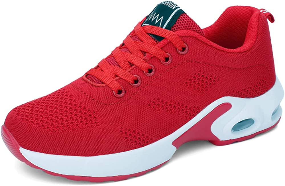 AARDIMI Chaussures de course légères en maille respirante pour femme Rouge