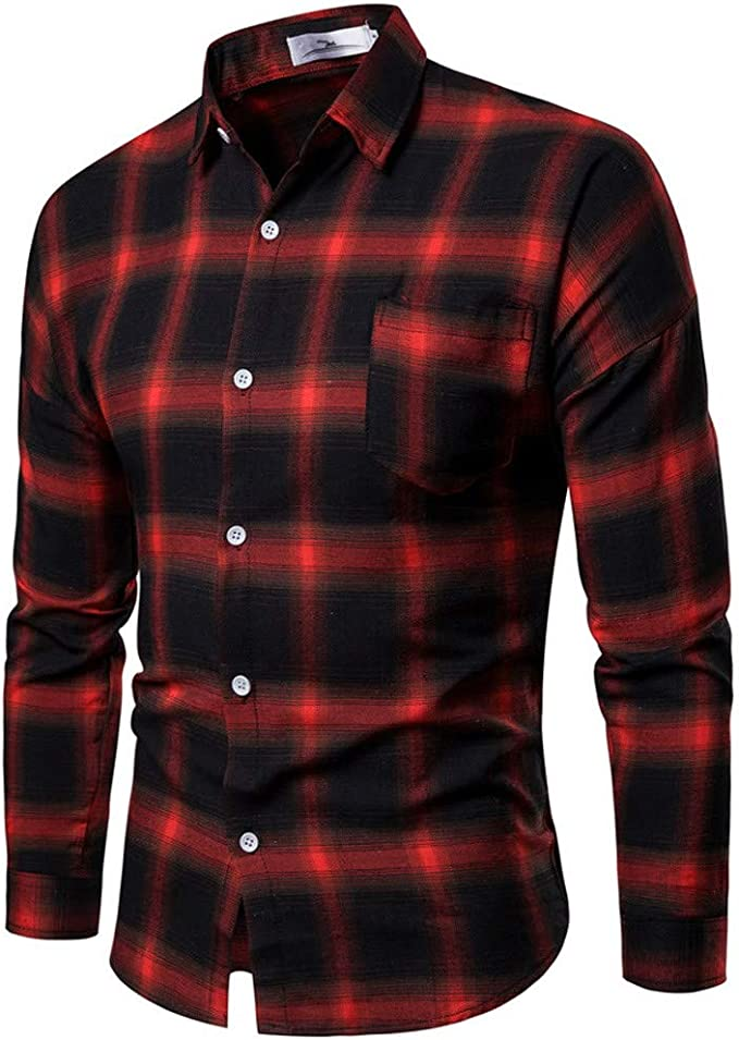 Camisa Hombre LianMengMVP Camisetas de Manga Larga a Cuadros Multicolores Botón Bolsillo Casual Trajes Formal Camisas Blusas: Amazon.es: Ropa y accesorios