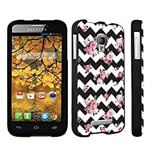 DuroCase ? Alcatel One Touch Fierce 7024W Hard Case Black - (Black Pink Roses Chevron)