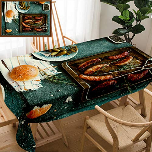 Unique Custom Design Cotton And Linen Blend Tablecloth Grilled Sausages In Oven Pan With Pickled Vegetables And Bread Bun Homemade Dinner Party CTablecovers For Rectangle Tables, Large Size 86