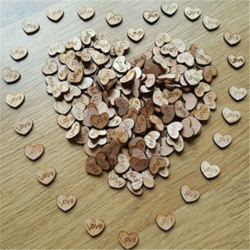 100pcs Rustic Wooden Love Heart Wedding Table Scatter Decoration Crafts by Rienar (Table Decorations For Weddings)