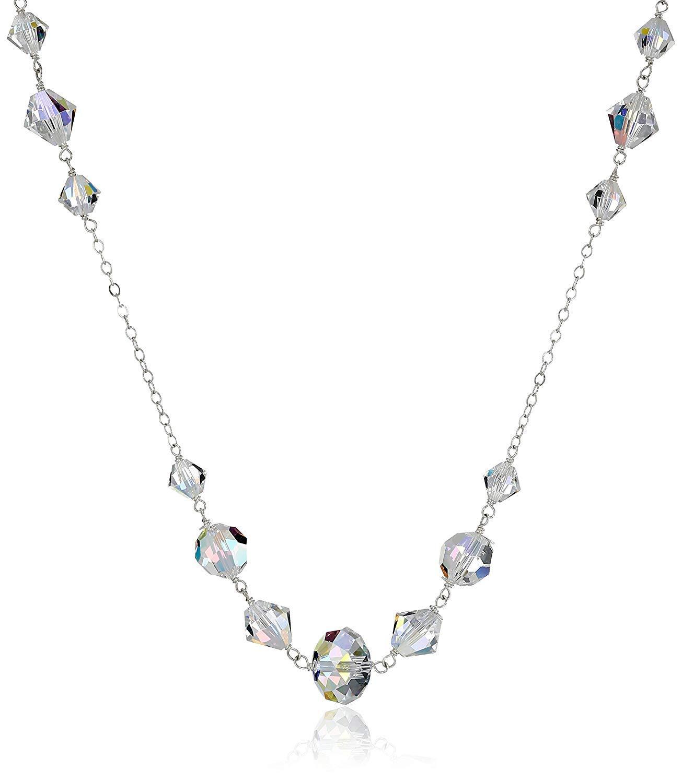 Sterling Silver Swarovski Elements Crystal Aurora Borealis Multi-Bead Chain Necklace, 34'' by LTC DESIGNS