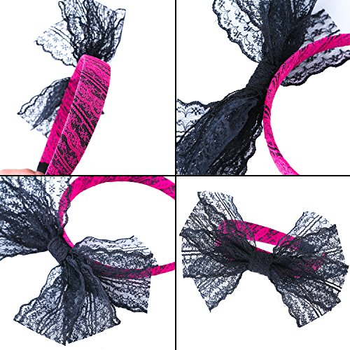 Coobey 80s Neon Bracelet Necklace Bow Headband Fishnet Gloves Lighting Earring by Coobey (Image #2)