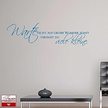 W877 Wandtattoo Sprüche Zitate Warte nicht auf große Wunder, sonst verpasst  du viele kleine. - Wohnzimmer (101x28 cm) schwarz