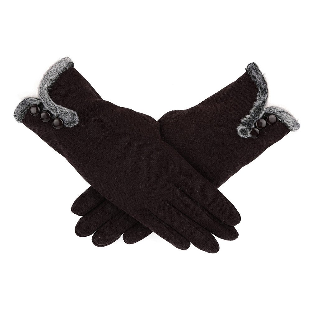 Likecrazy Damen mode TouchScreen Handschuhe Dick Wolle Vollfinger warme Handschuh Streetwear Lässig Mädchen Accessoires WintersportHandschuh Skifahren Handschuh one size)