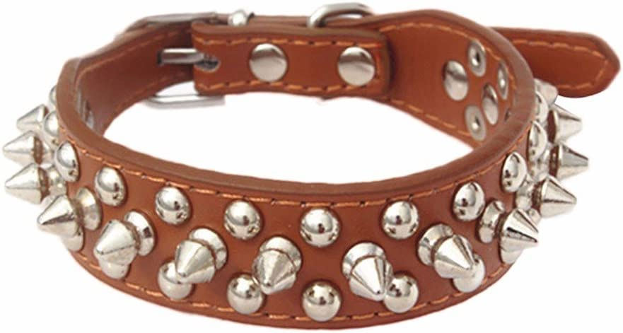 Ridkodg Dog Collar Adjustable Leather Rivet Spiked Studded Pet Puppy Dog Collar Neck Strap