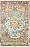 Unique Loom Baracoa Collection Bright Tones Vintage Traditional Light Blue Area Rug (5' 5 x 8' 0)