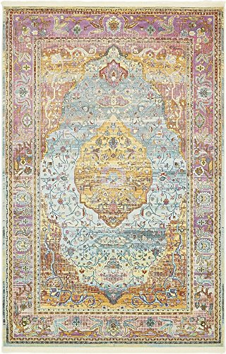 - Unique Loom Baracoa Collection Bright Tones Vintage Traditional Light Blue Area Rug (5' 5 x 8' 0)