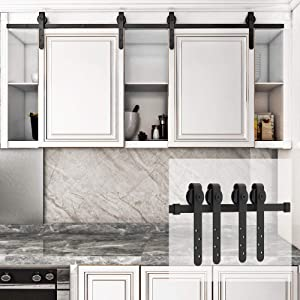 HomLux 6.6t Double Cabinet Door Mini Barn Door Hardware Kits for Cabinet Doors - Smoothly and Quietly - Simple and Easy to Install J Shape Hangers