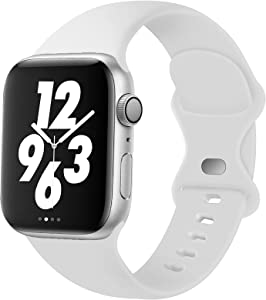 Acrbiutu Bands Compatible with Apple Watch 38mm 40mm 42mm 44mm, Replacement Soft Silicone Sport Strap for iWatch SE Series 6/5/4/3/2/1 Women Men, White 38mm/40mm S/M