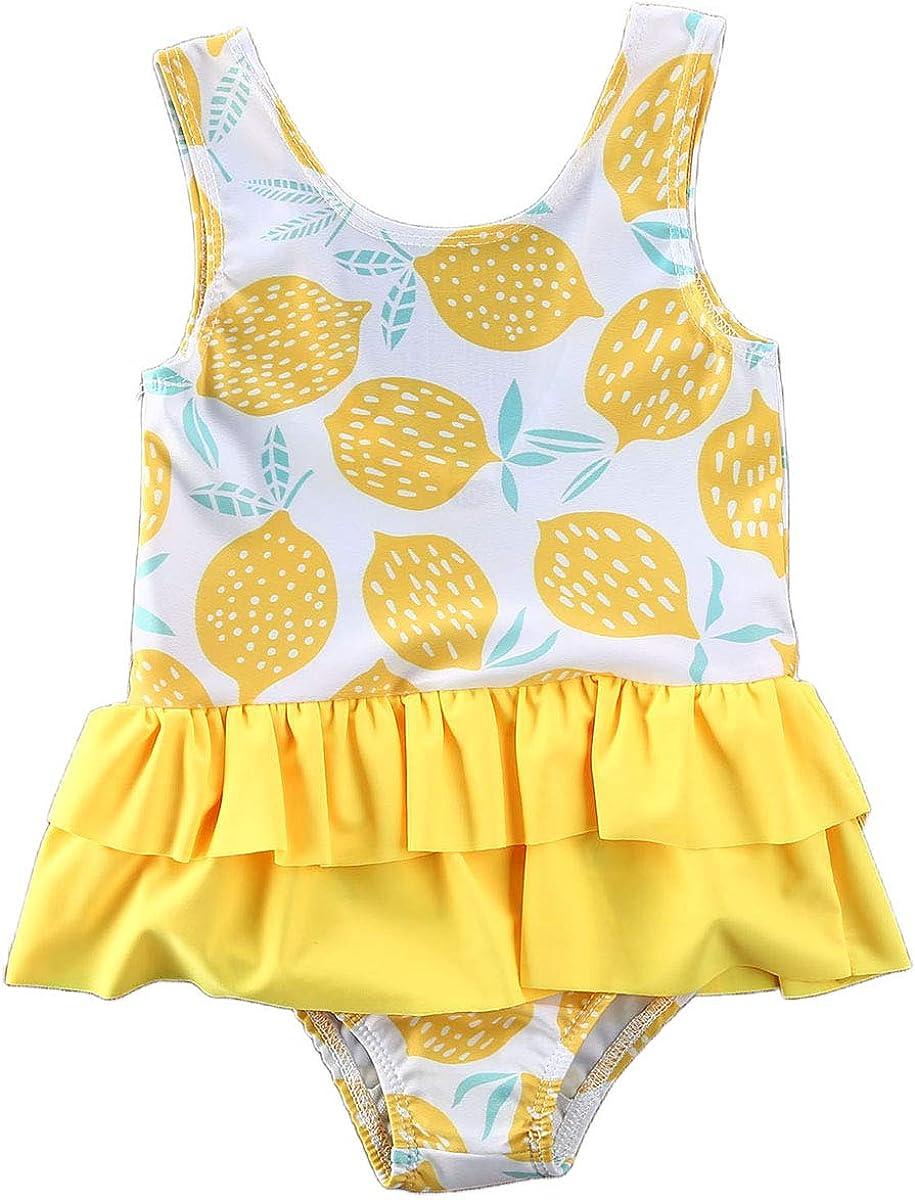 Outique One Piece Swimsuit for Toddler Kids Baby Girl Ruffled Print Bikini Beach Swimsuit Bathing Swimwear