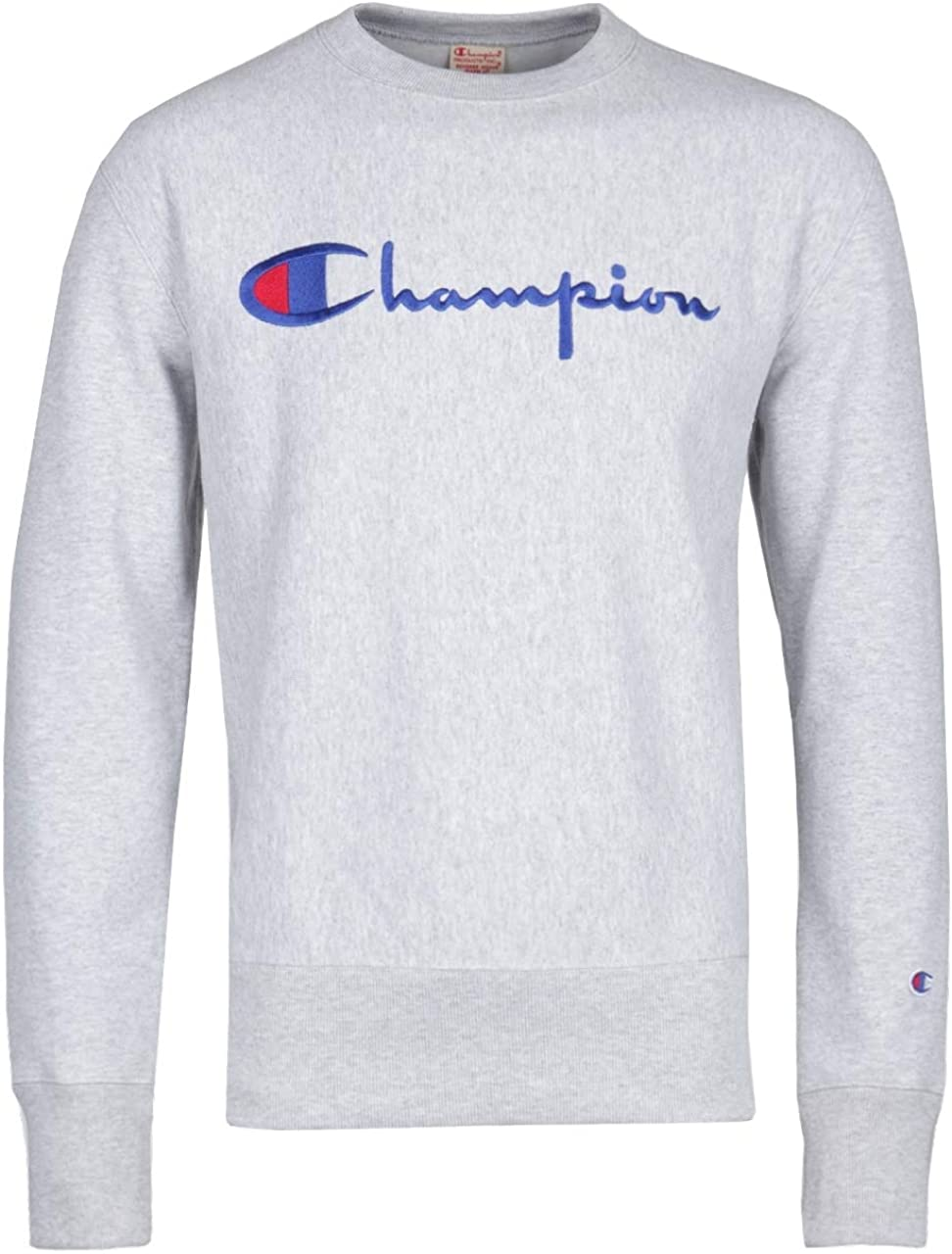Champion Reverse Weave Script Logo Sweatshirt Grey Melange