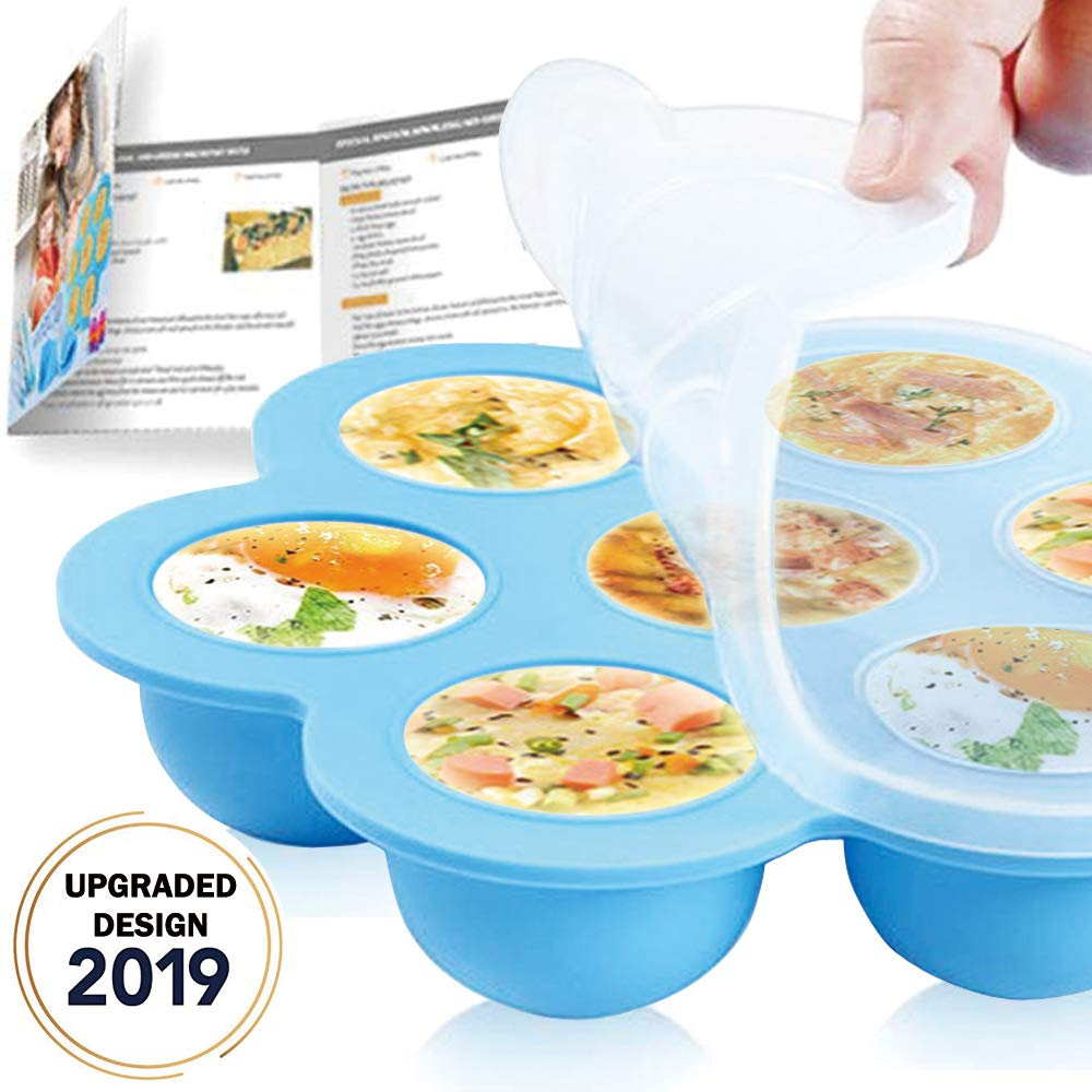 Silicone Egg Bites Molds for Instant Pot Accessories - Reusable Baby Food Storager and Freezer Tray with Silicon Lid,Fits Instant Pot 5,6&8Qt Pressure Cooker