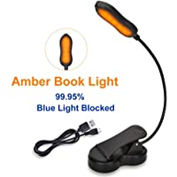 iGoober Amber Book Light, Rechargeable Blue Light Blocking Reading Light, Clip on Book Lamp, 3 Brightness Eye Care Sleep Aid Lights, for Kids, Bookworms and Kindle