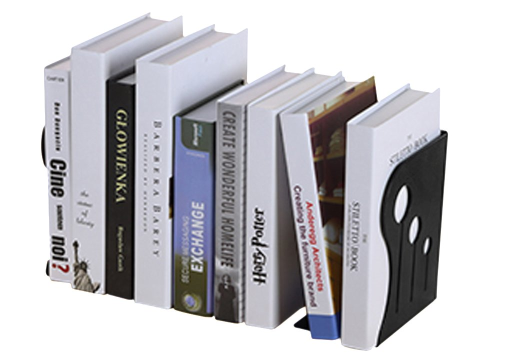 Book Ends Retractable Metal Bookends Creative Stationery Iron Bookends Heavy Duty Expandable Book Stand Extension Magazine Holder Bookshelf for Home School Office, Black