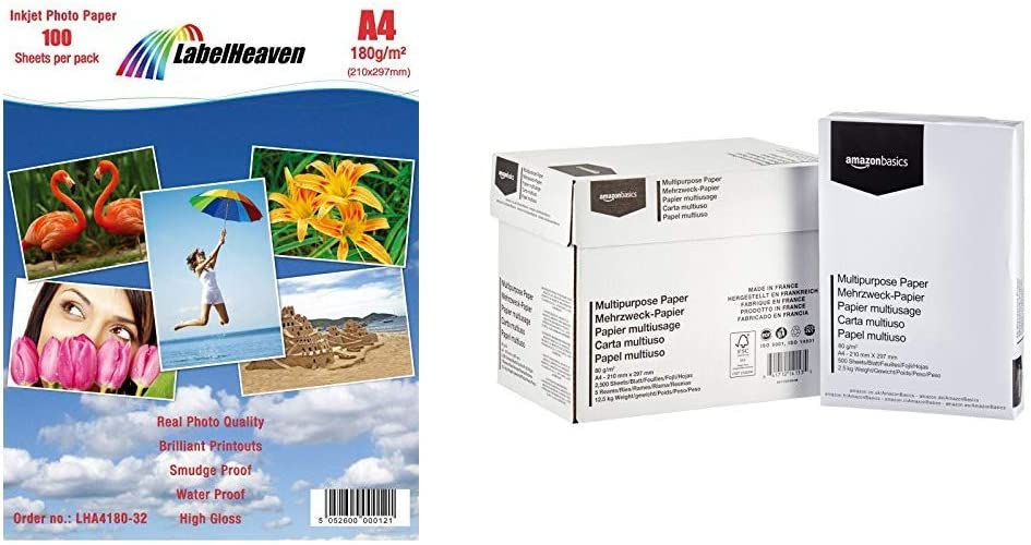 100 Blatt A4 LabelHeaven LH-A4180-32 Fotopapier 180 g//qm 210 x 297 mm