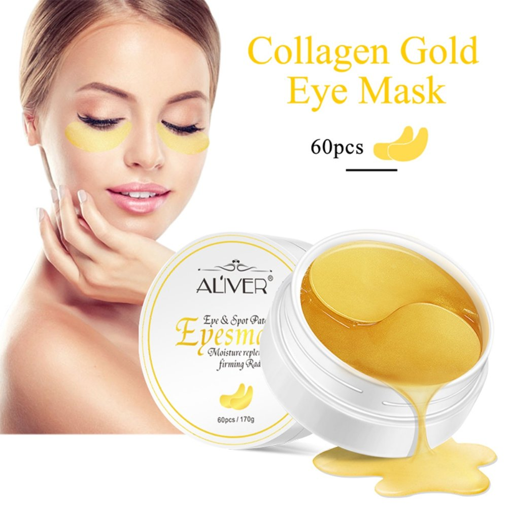 Yiitay Eye Patches Mask Collagen Eye Pads, Collagen Gold Eye Mask Anti Aging, Anti Wrinkle, Puffy Eyes, Remove Bags & Puffiness & Dark Circles Under Eye, Moisturiser Mask 60Pcs