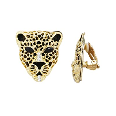 Rosemarie Collections Women's Crystal Accented Black Panther Tiger Leopard Clip On Earrings