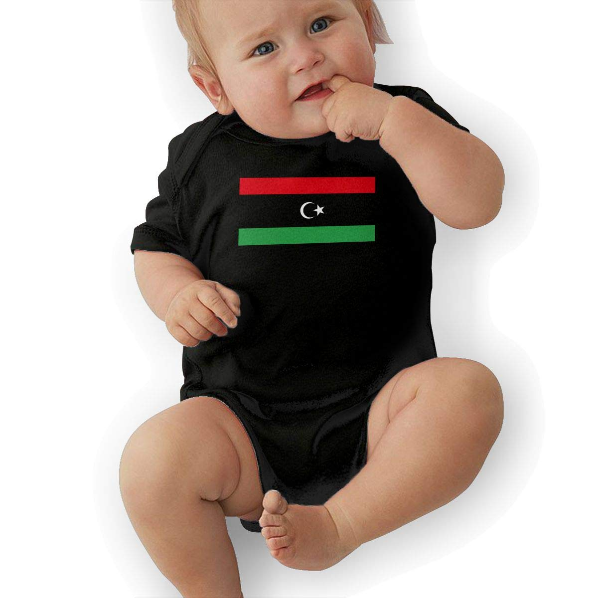 Cute Libya Flag Jumpsuit U88oi-8 Short Sleeve Cotton Rompers for Baby Boys and Girls