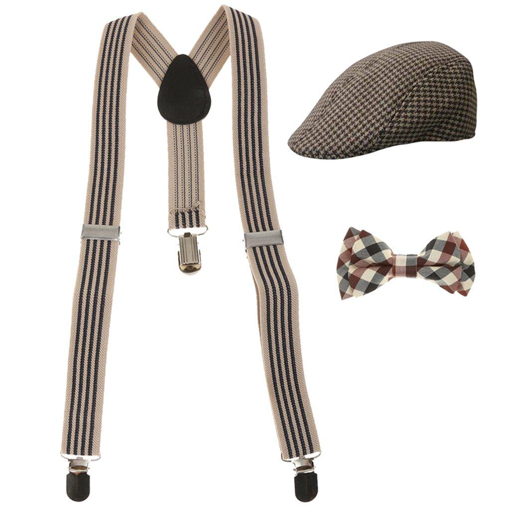 Gazechimp Set Règlable Y-dos Bretelle Suspension Support Pantalon + Cravate + Casquette Béret Vêtement Homme