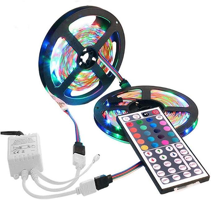 Tira de luces LED RGB, con control remoto IR de 44 teclas, 10 m, 3528 SMD, 600: Amazon.es: Iluminación