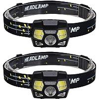 Lanterna de cabeça Besportble, 2 peças, USB, sensor de movimento, lanterna, farol XPE COB, lanterna de cabeça de LED…