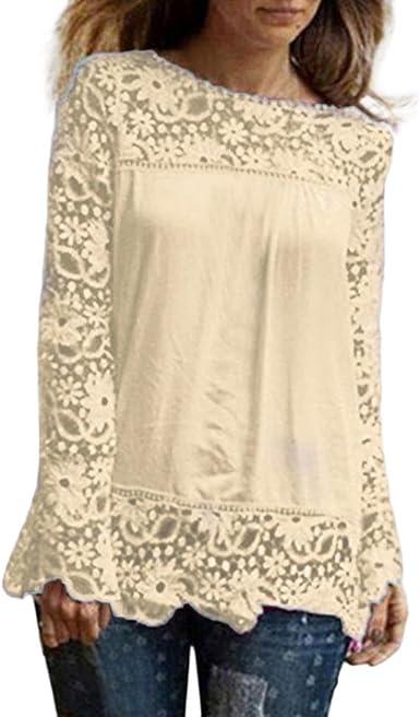 DOGZI Mujer Blusa Camisa Manga Larga para Gran tamaño Tops ...