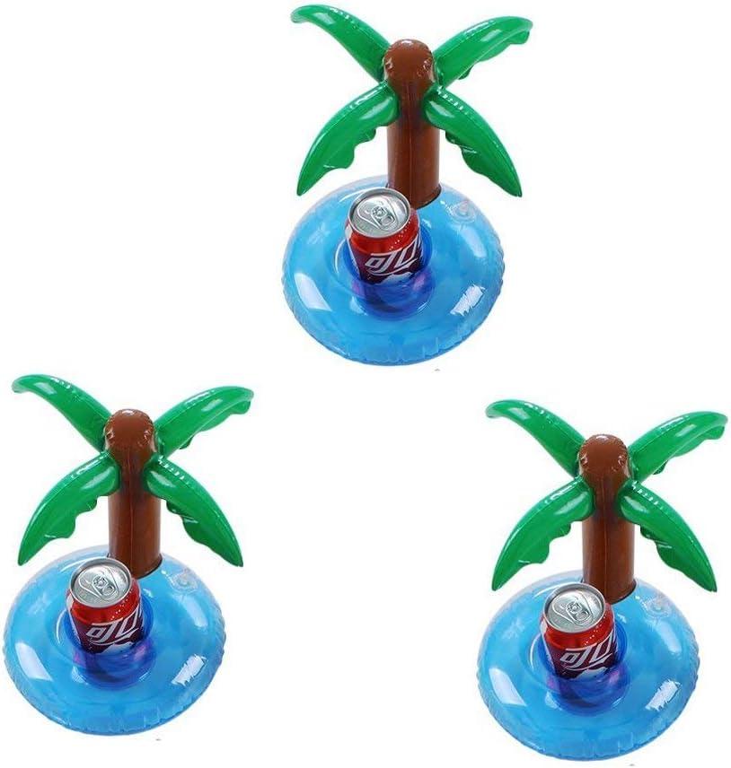 Flotadores inflables para bebidas, piscina, fiestas, posavasos, soporte para copa de palmera, flotadores, balsa de playa, juguete de fiesta, paquete de 3