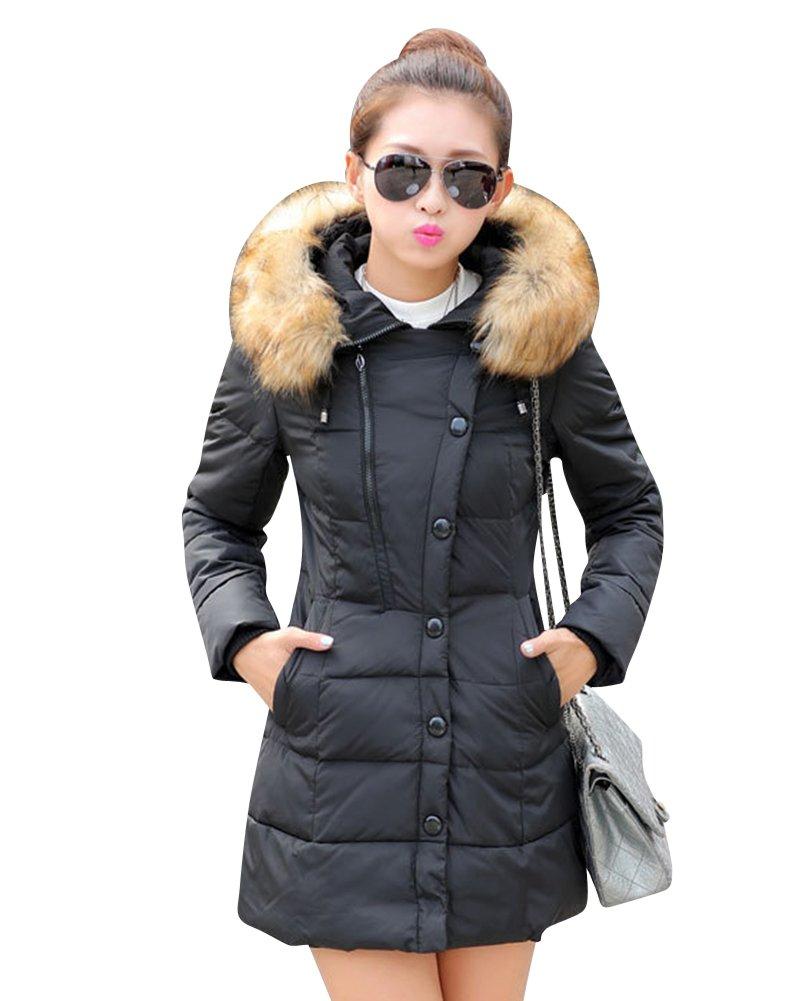 LaoZan Abrigo de invierno Chaqueta acolchada con capucha Abrigo de mujer Abrigo largo para mujer