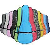 HOT SEAL Waterproof Durable Colorful Ukulele Cotton Case Bag with Storage (21in, light blue)