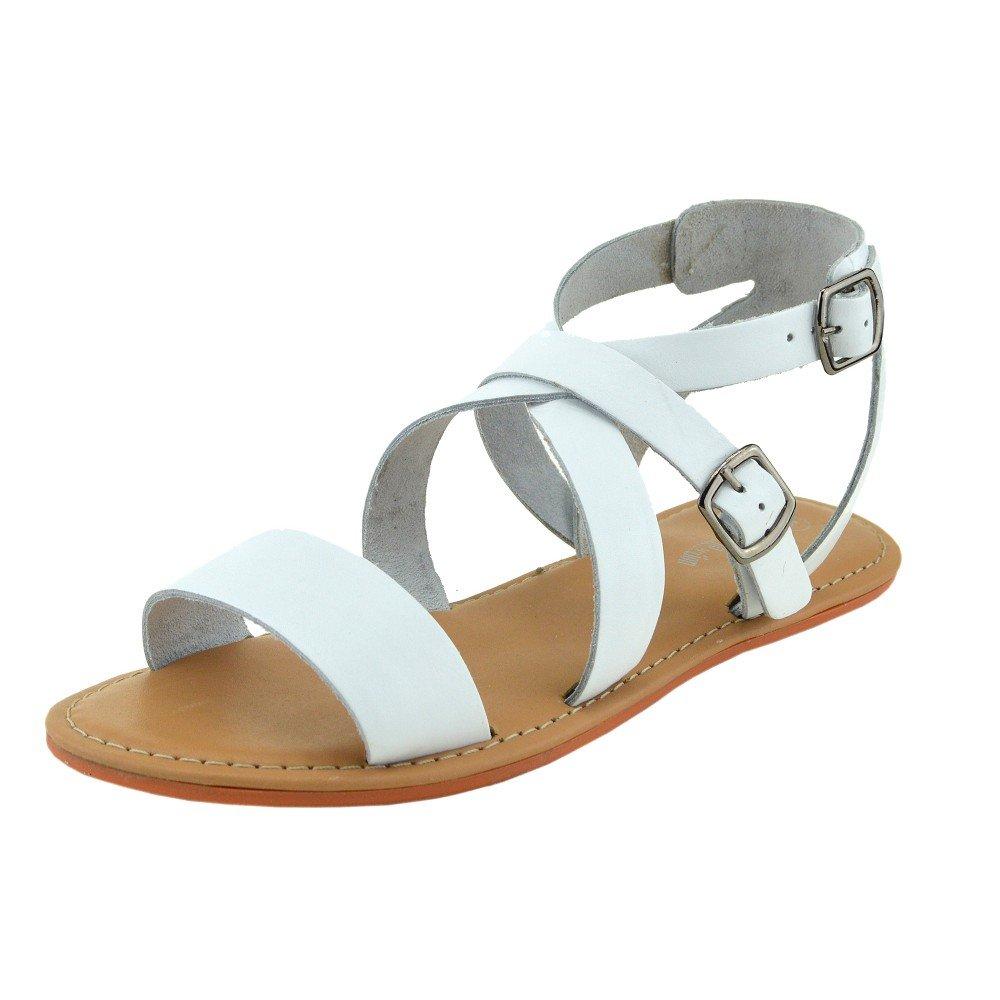 Kick Footwear - Moda Donna Estate Casual Sandali Scarpe Di Cuoio NaturaleBianco