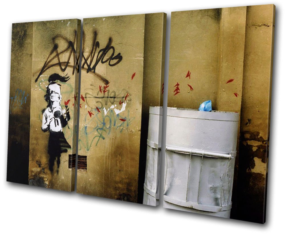 Bold bloc design banksy street graffiti 60x40cm canvas art print box framed picture wall hanging hand made in the uk framed and ready to hang