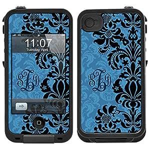 Skin Decal Monogram for LifeProof Apple iPhone 4 Case - Black on Blue Floral Damask