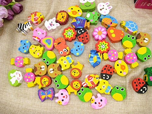 Zoo Puzzle Animals Shaped (Peicees 50 Pack Assorted Cartoon Animal Erasers Pencil Toppers kit, Gift/Award to Kids)