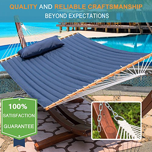 Lazy Daze Hammocks Quilted Fabric Hammock with Pillow for Two Person Double Size Spreader Bar Heavy Duty Stylish, Navy Blue