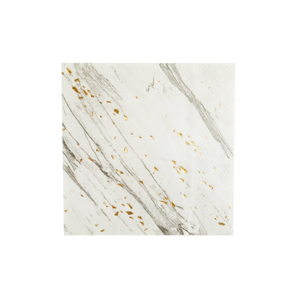 Harlow & Grey White Marble w Gold Cocktail Paper Napkins - Birthday, Wedding, Showers Party Napkins Blanc (60 Count)