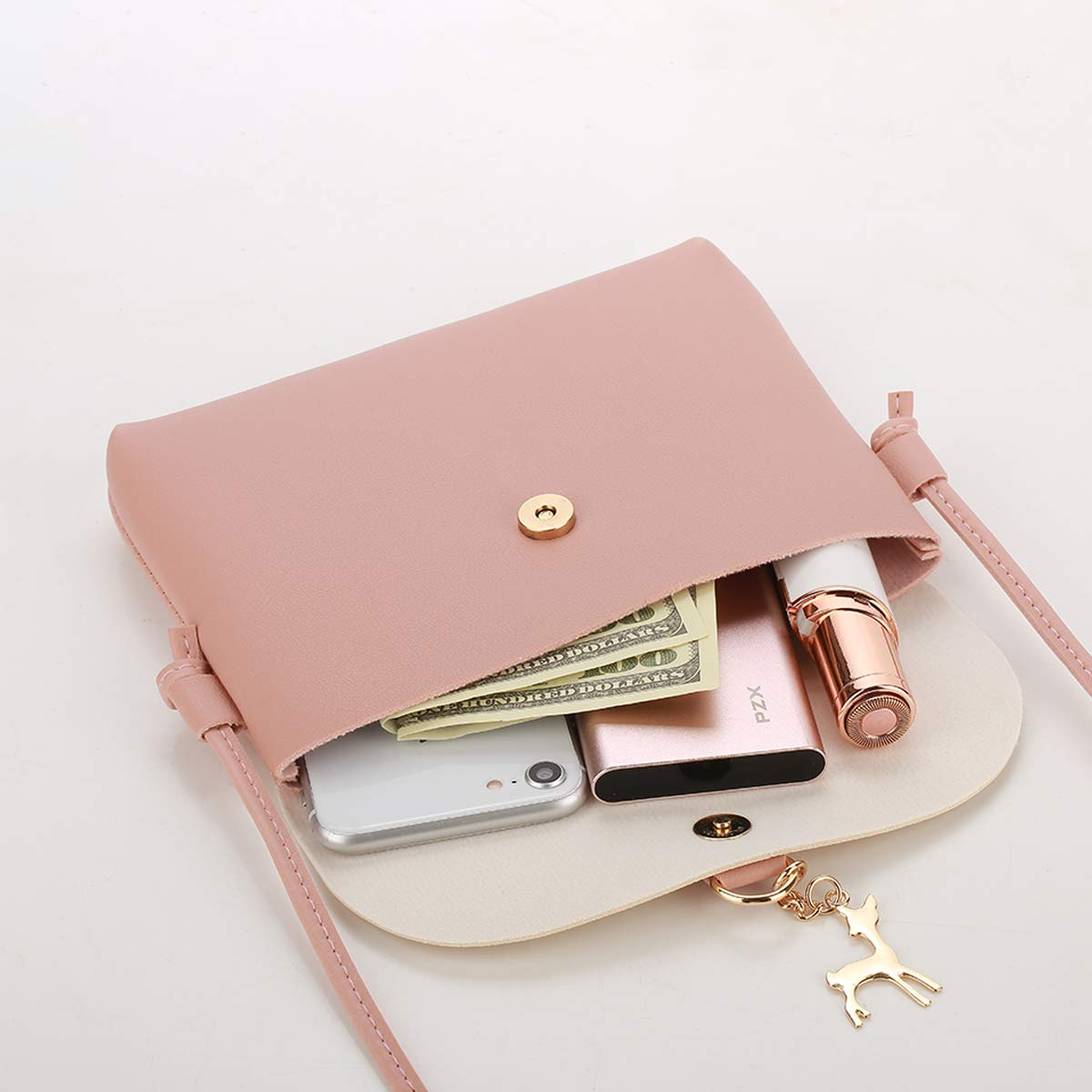 Small Crossbody Purse for Women With Pendant,PU Leather Crossbody Bag With Strap Cell Phone Bag for Girl,Pink by Lanling (Image #4)