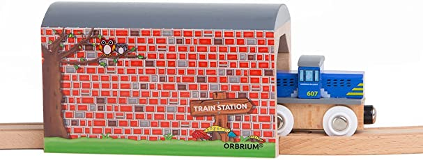 Orbrium Toys Large Wooden Train Tunnel for Wooden Railway Fits Thomas Brio Chuggington Melissa Doug Imaginarium