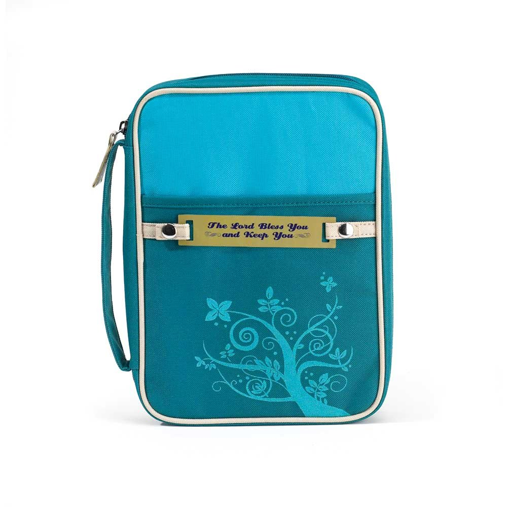 Turquoise Bless Keep You 7.25 x 10 Reinforced Polyester Bible Cover Case with Handle