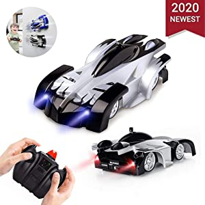 Remote Control Car Rc Cars, Remote Control Wall Climbing RC Car with LED Light 360 Degree Rotating Stunt Toy (blue)