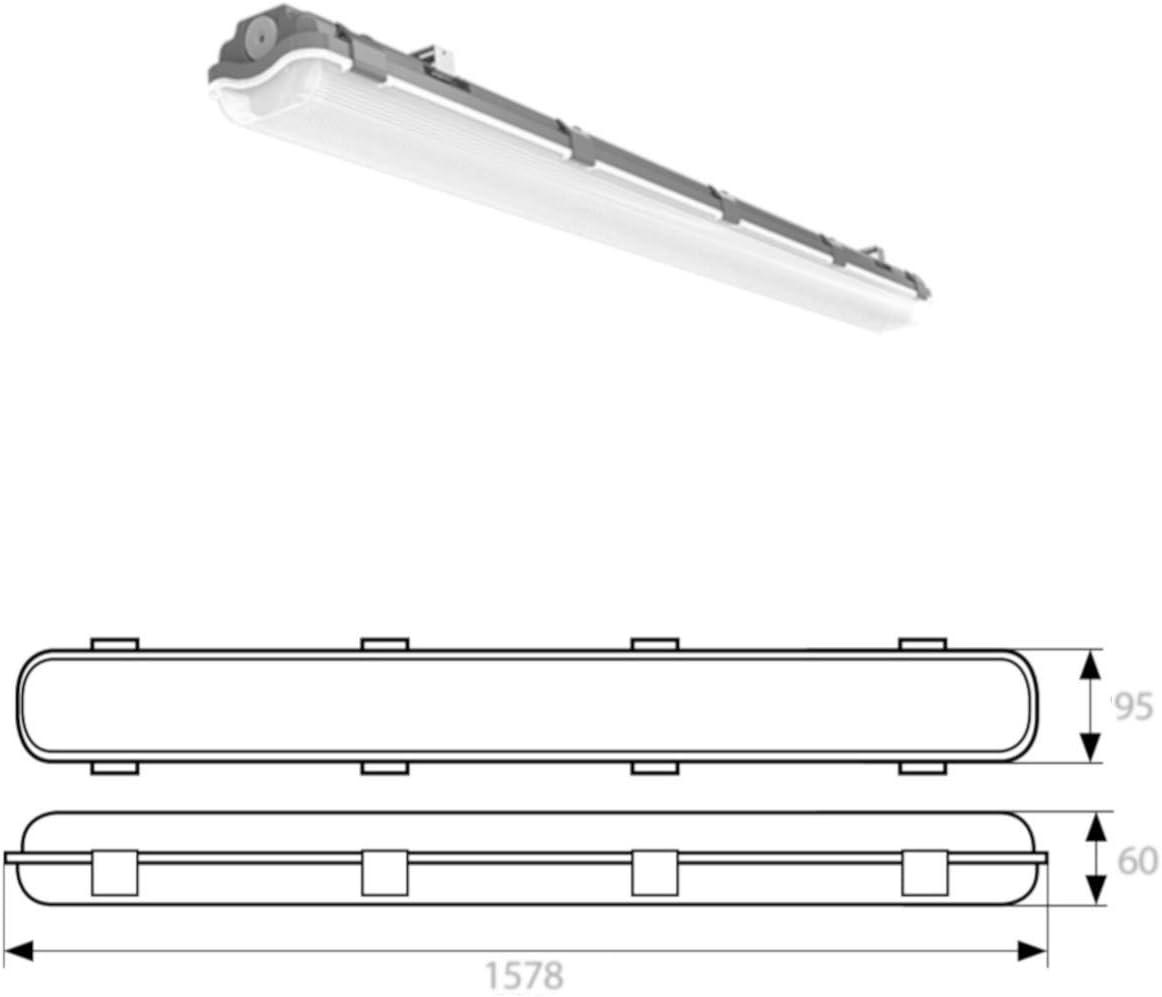SET 1x LED Feuchtraumleuchte Wannenleuchte Keller Werkstatt IP65 2x T8 LED 150cm 22W 4000K G13 Bürolampe Kaltweiß