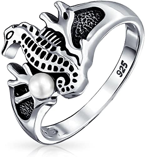 Bling Jewelry 925 Sterling Silver Antique Style Nautical Sea Mermaid Ring