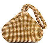 Women Evening Wedding Clutch Triangle Design Rhinestones Purse Handbag for Party Prom (Gold)